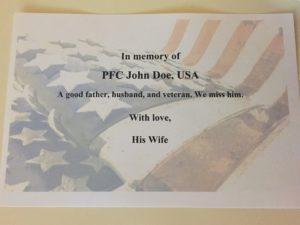 veteran placard